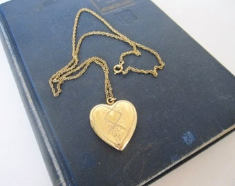 Vintage Heart Locket 12K Gold Filled Chain, Etched Design Love Token Locket