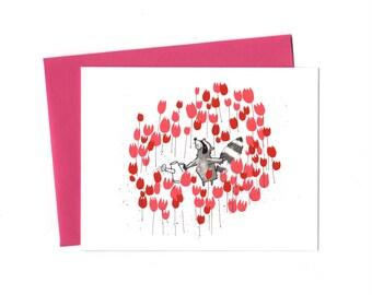 Raccoon in Spring, Single Valentine, Gardening Raccoon Thank You Note