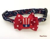Patriotic Hat July 4th Dog Collar Size XS through Large by Doogie Couture
