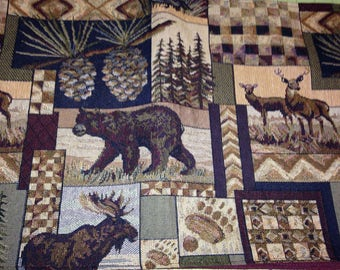 Wildlife tapestry fabric print. Peters Cabins Stone
