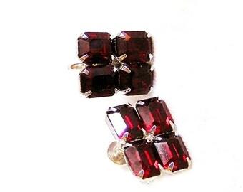 Red Rhinestone Screw On Earrings