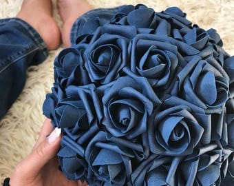 Navy Blue Kissing Ball Rose Pomander Tall Centerpiece Weddings Choose size