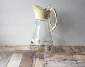 Vintage Log Cabin Syrup Pitcher  - Large 3 Cup Size with Yellow Starbursts