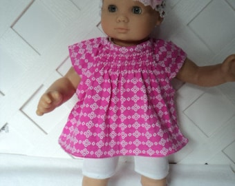 Doll Clothes,  Bitty Baby Girl   4 pc cute pink  Pants dress  outfit  with headband and Leggings