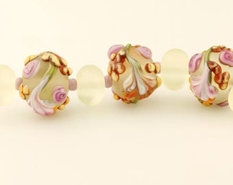 Lampwork Bead Set Garden Florals Matte Glass with Lavender, Pink Flowers 'Spring Bouquet'