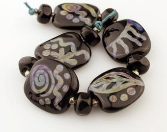 Lampwork Glass Bead Set Black with Blue, Green, Purple Tribal Style Decoration