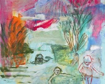 Fine Art Giclee Print fuchsia turquoise green, Bathing in the river, modern wall art print, by Ana Gonzalez