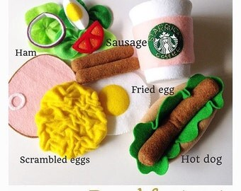 "Pretend felt food play food Birthday gift ""Breakfast set """