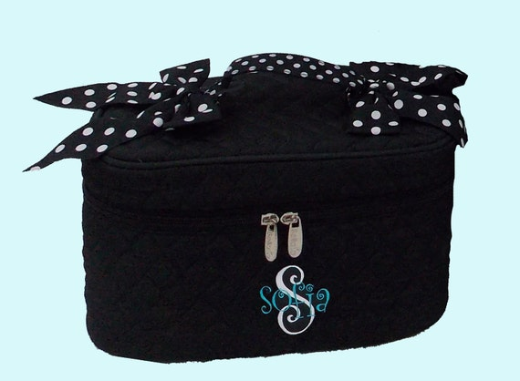 Personalized Cosmetic Train Case Black With Black and White Polka Dotted Trim-Monogram Included