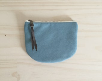 Vegan Zipper Pouch, Blue Coin Purse