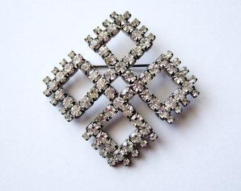 Rhinestone Brooch Pin Vintage Large Brooch Rhinestone Jewelery Geometric Jewelry Bridal Wedding Brooch