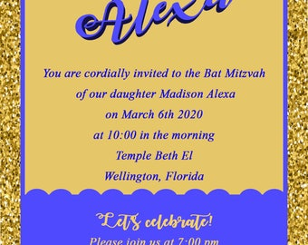 5x7 Glitter and duotone invitation your choice colors, bar mitzvah,Wedding Invitation, SAVE THE DATE, Bat Mitzvah, Sweet 16, do it yourself,