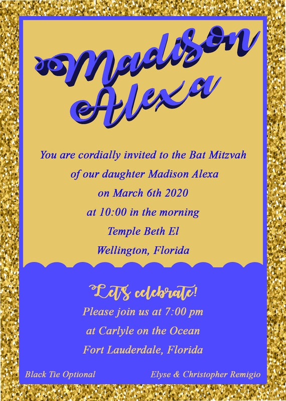 5x7 glitter and duotone invitation your choice colors bar like this item solutioingenieria Gallery