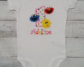 ELMO, Cookie Monster and Big Bird Personalized 2nd Birthday Shirt, Onesie Tank Top Age 1 2 3 4 5