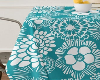 Modern Floral Tablecloth // Table Linens // Dining Room // Festibloom Design // Turquoise // Table Decoration // Modern Home // Boho Chic