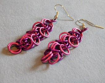 Pink and purple shaggy loops earrings