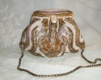 Vintage 1920s Replica Purse La Regale Art Deco Beaded Ornate with Gold Chain Handle Very Pretty Basket Style