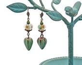 Lampwork Glass Porcelain Drop Earrings in Celadon Green Copper Orange Unique Gypsy Boho Victorian Romantic Design OOAK Wirewrapped Jewelry