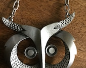 RESERVED 1970s Mod Owl Necklace