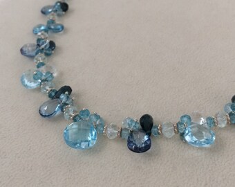 Blue Topaz Necklace in Sterling Silver with Swiss Blue Topaz, Mystic London Blue Topaz, London Blue Topaz, Sky Blue Topaz, Aquamarine