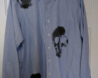 Libertine vintage men's shirt skull print Johnson Hartig Cindy Greene Karl Lagerfeld grunge large xl