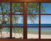 Wall mural window, self adhesive, Michigan Mackinac Island beach with tree-Michigan-  - free US shipping