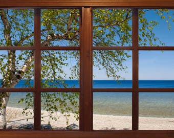 Wall mural window, self adhesive, Michigan Mackinac Island beach with tree-Michigan-  - free US shipping