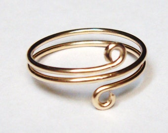 14K Solid Gold Ring   Toe Ring   Gold Wire Wrapped Ring or Toe Ring  14K Gold Toe Ring