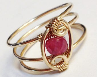 Sapphire Ring    Pink Sapphire Ring   14K Gold Filled Ring   Sapphire Jewelry  September Birthstone