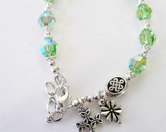 Peridot SWAROVSKI Irish Single Decade Rosary Bracelet-August Birth Month Rosary Bracelet/Irish bracelet