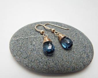 blue Mountain quartz. 14k gold fill. adirondack blue. transparent blue earrings. mountain jewelry. energy amplifier.