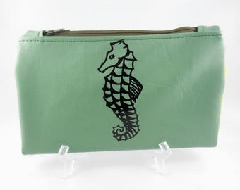 Seahorse Wallet   Bifold Wallet  Faux Leather Wallet   Seahorse Print  Card Holder Wallet  Vegan Leather Wallet  Silk Screen  Green Wallet
