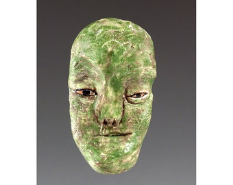 Sonny - Green Face Ceramic Wall Mask by Jenny Mendes