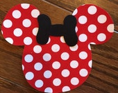 ADULT Size Minnie Iron On Applique, You Choose Fabric