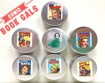 COMIC BOOK Gals Knitting Tin & Markers Set