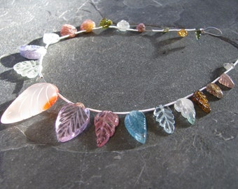 Multi Gemstone carved leaves, Tourmaline leaves, full 6.5 inch strand, 5-26mm (w77b)