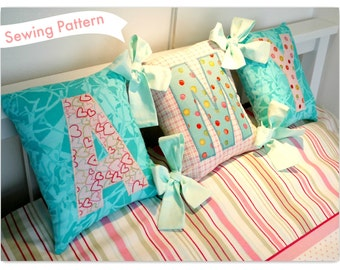 Spell-a-name Tied Cushions Sewing pattern by Lillyblossom. Make personalised gifts or child's pillows. Full alphabet templates included.