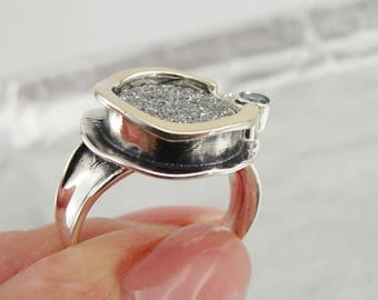 925 Silver Druzy Agate Ring, Handcrafted 9k yellow gold & 925 sterling Silver ring, Silver Druzy ring, ring size 7, Free Shipping (ms r958