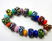 22 lampwork glass beads Assorted color beadwork beads 10mm x 12mm SB3