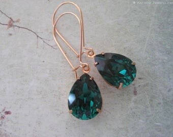 Long Rose Gold Emerald Green Crystal drop earrings