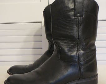 vintage Black Leather Ropers - Riding Boots by Justin Boots - size 6 1/2 D (womens sizing) size 5 D (mens sizing)