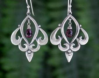 Garnet Sterling Silver Earrings, French Wire, Drop and Dangle Earring, Handmade, Antique, Statement Earring