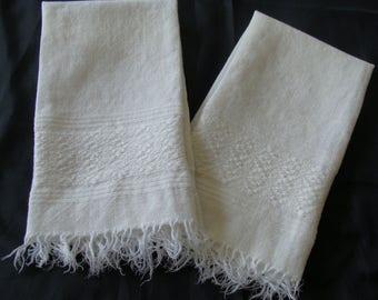 Pr of Vintage Hand Woven T Towel .... Wiggins Weaving House Northampton MA