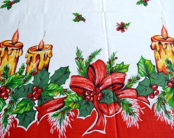 Vintage Christmas Border Fabric - Candles and Holly Bows - By the Yard