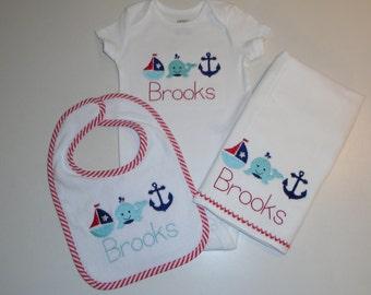 Baby Boy Anchor's Away Bib, Burp Cloth and Onesie Set