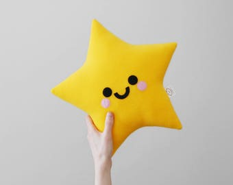 Yellow Star Plushie, Happy Pillow, Space Accessory, Little Star, Kids Room Decor