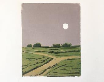 "Full Moon • original linocut print 4x5"""