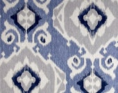 Pair of designer curtain panels drapes, Magnolia Delhi yacht blue