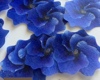 15 edible cake decoration - purple edible flowers -  edible wedding cake toppers - cupcake toppers - lavender edible decorations - Uniqdots