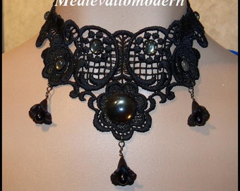 Choker in Jet Black Lace Centered Deep Gray cab and Rhinestones Dropping Tear Flowers Victorian Style Goth Collar Turn Century Runway Art